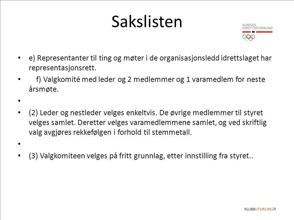 Sakslisten e) Representanter til ting og møter i de organisasjonsledd idrettslaget har representasjonsrett.