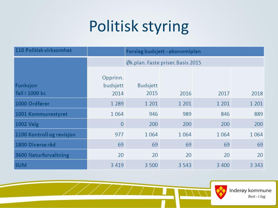 Politisk styring 110 Politisk virksomhet Forslag budsjett - økonomiplan Funksjon Tall i 1000 kr.