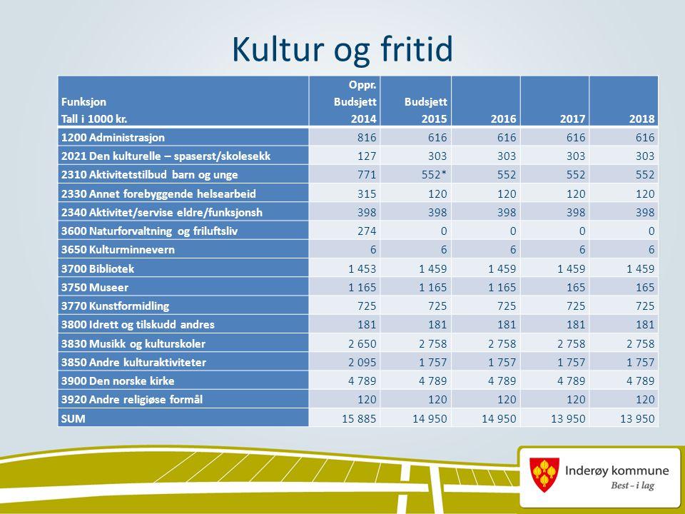 Kultur og fritid Funksjon Tall i 1000 kr. Oppr.