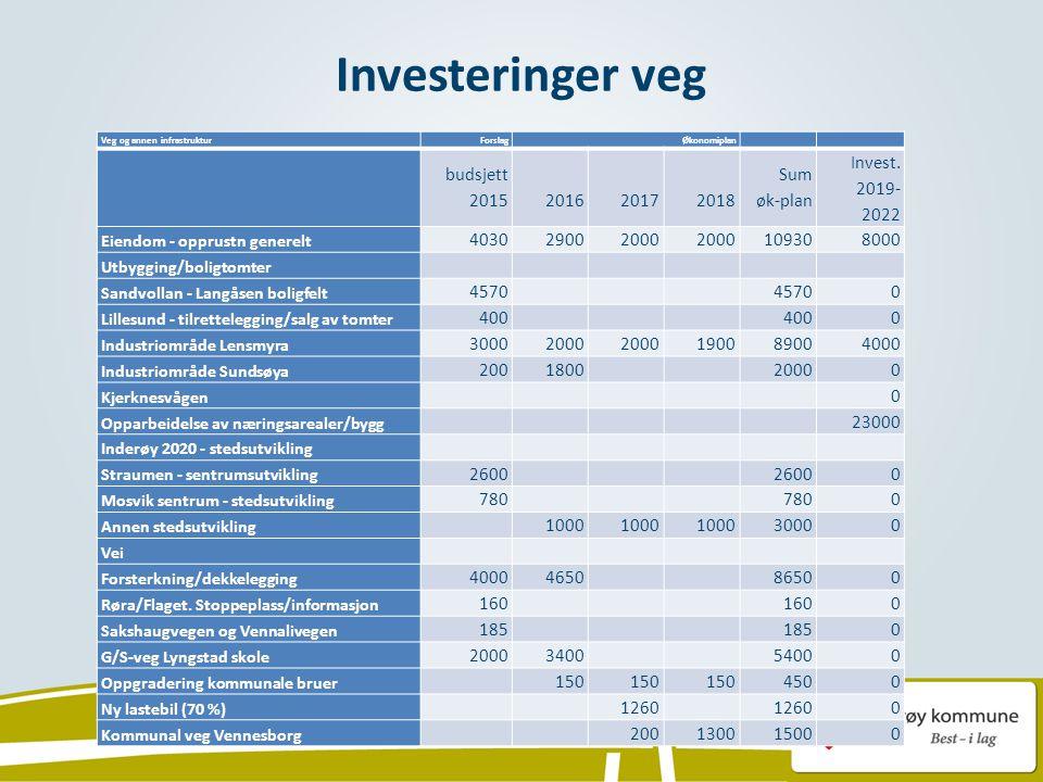 Investeringer veg Veg og annen infrastruktur ForslagØkonomiplan budsjett 2015 2016 2017 2018 Sum øk-plan Invest.