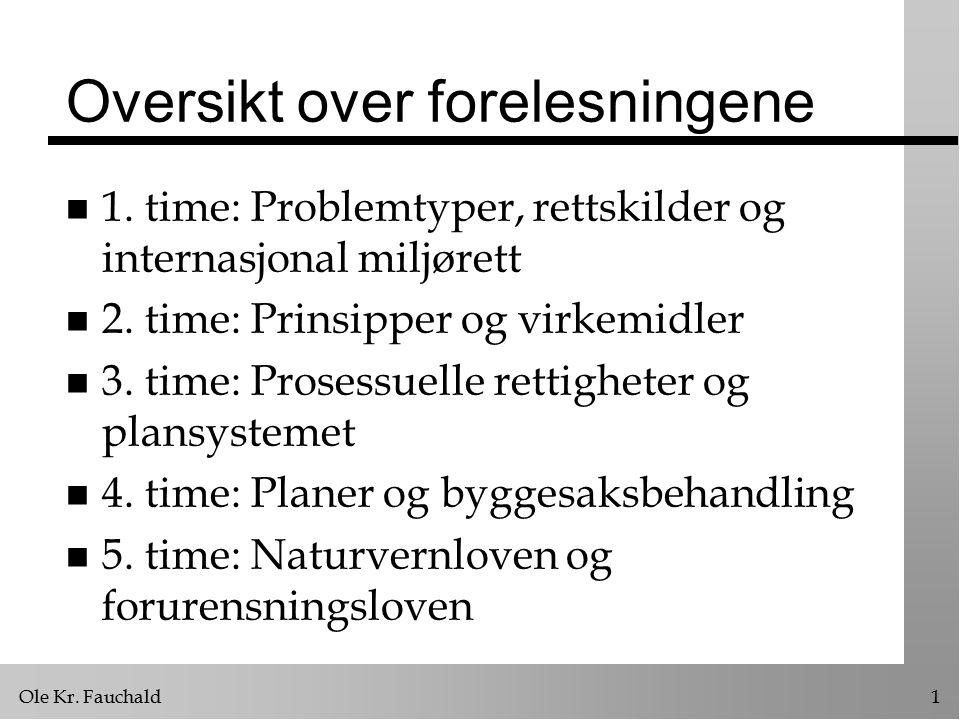Ole Kr. Fauchald1 Oversikt over forelesningene n 1. time: Problemtyper, rettskilder og internasjonal miljørett n 2. time: Prinsipper og virkemidler n