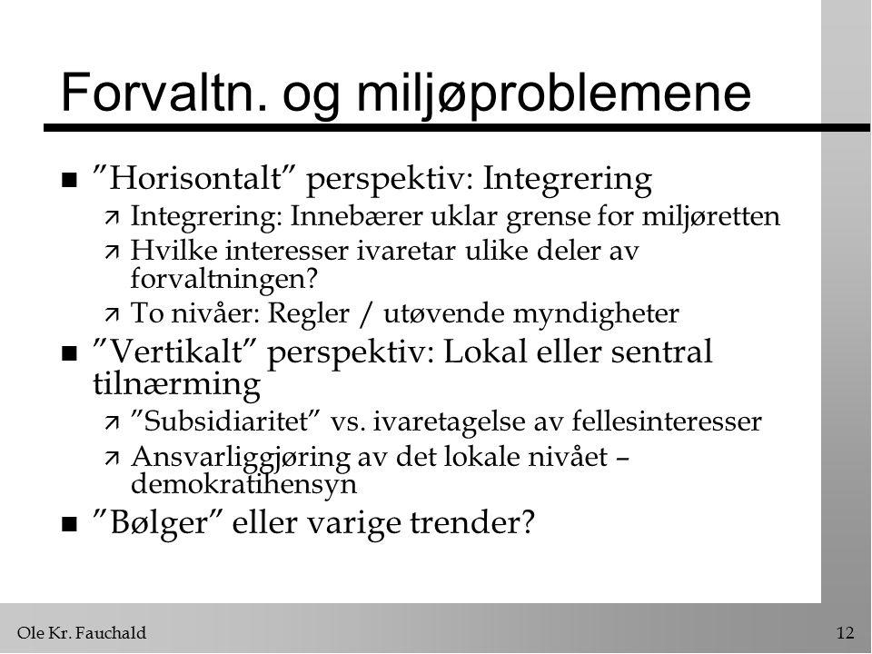 """Ole Kr. Fauchald12 Forvaltn. og miljøproblemene n """"Horisontalt"""" perspektiv: Integrering ä Integrering: Innebærer uklar grense for miljøretten ä Hvilke"""