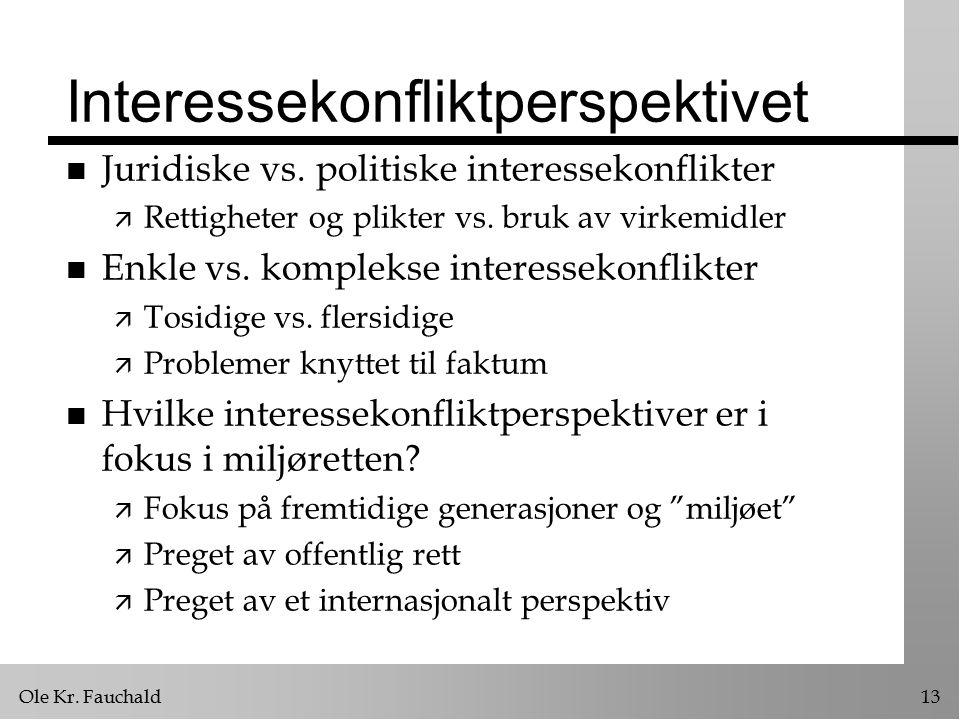 Ole Kr. Fauchald13 Interessekonfliktperspektivet n Juridiske vs.