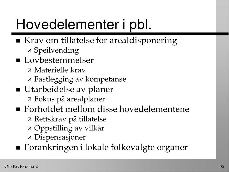 Ole Kr. Fauchald32 Hovedelementer i pbl.
