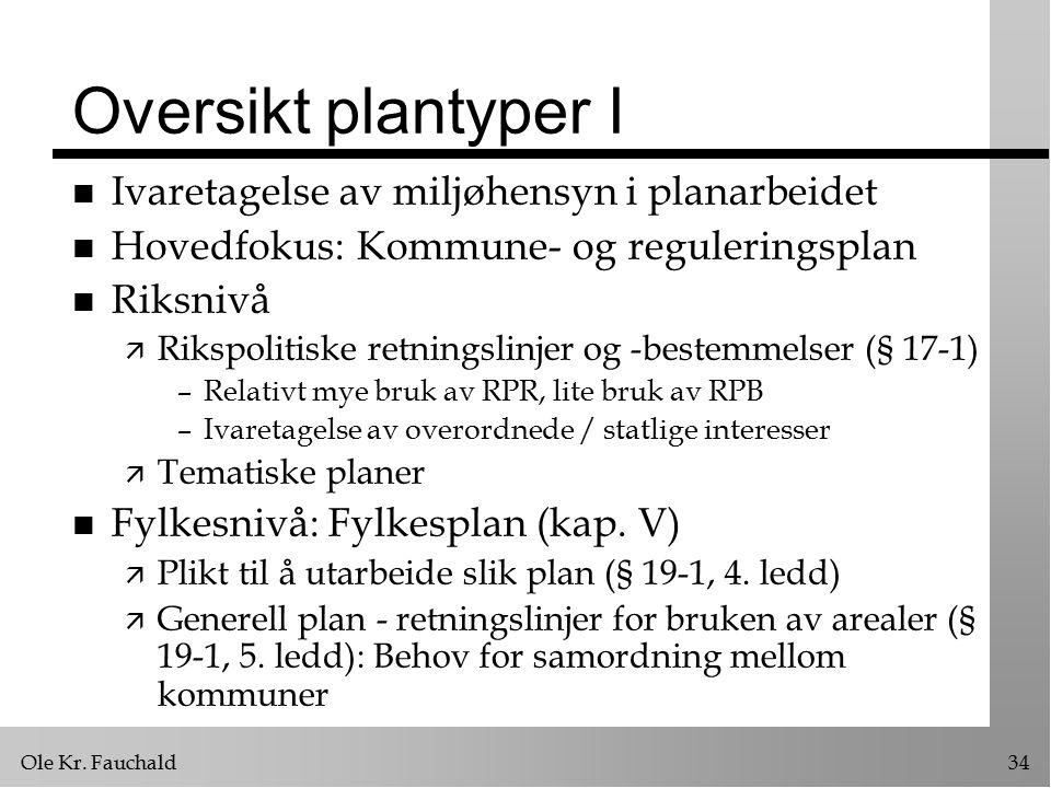 Ole Kr. Fauchald34 Oversikt plantyper I n Ivaretagelse av miljøhensyn i planarbeidet n Hovedfokus: Kommune- og reguleringsplan n Riksnivå ä Rikspoliti