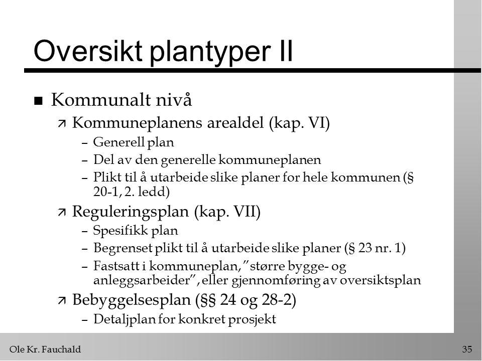 Ole Kr. Fauchald35 Oversikt plantyper II n Kommunalt nivå ä Kommuneplanens arealdel (kap. VI) –Generell plan –Del av den generelle kommuneplanen –Plik
