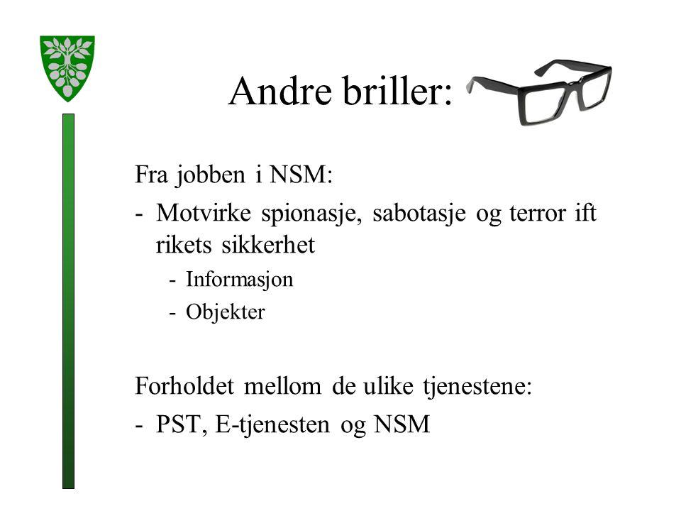 Andre briller: Fra jobben i NSM: -Motvirke spionasje, sabotasje og terror ift rikets sikkerhet -Informasjon -Objekter Forholdet mellom de ulike tjenestene: -PST, E-tjenesten og NSM