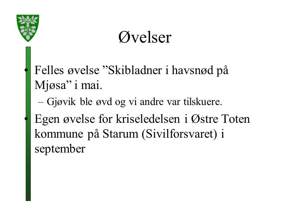 Øvelser Felles øvelse Skibladner i havsnød på Mjøsa i mai.