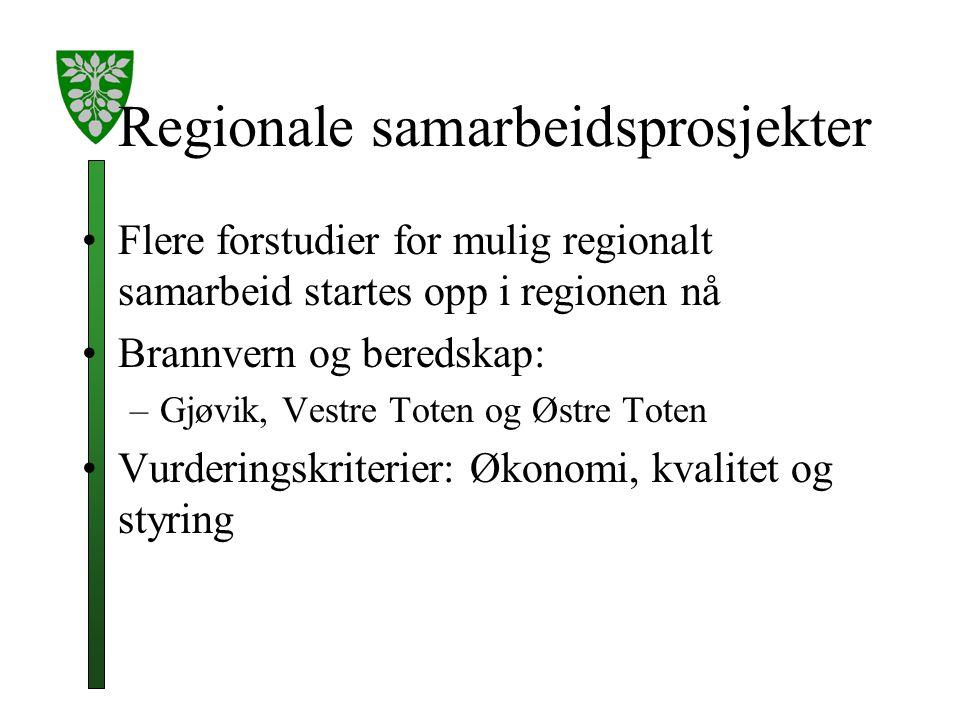 Regionale samarbeidsprosjekter Flere forstudier for mulig regionalt samarbeid startes opp i regionen nå Brannvern og beredskap: –Gjøvik, Vestre Toten og Østre Toten Vurderingskriterier: Økonomi, kvalitet og styring