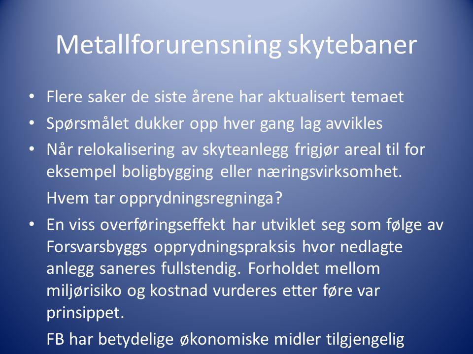 Metallforurensning skytebaner Flere saker de siste årene har aktualisert temaet Spørsmålet dukker opp hver gang lag avvikles Når relokalisering av skyteanlegg frigjør areal til for eksempel boligbygging eller næringsvirksomhet.