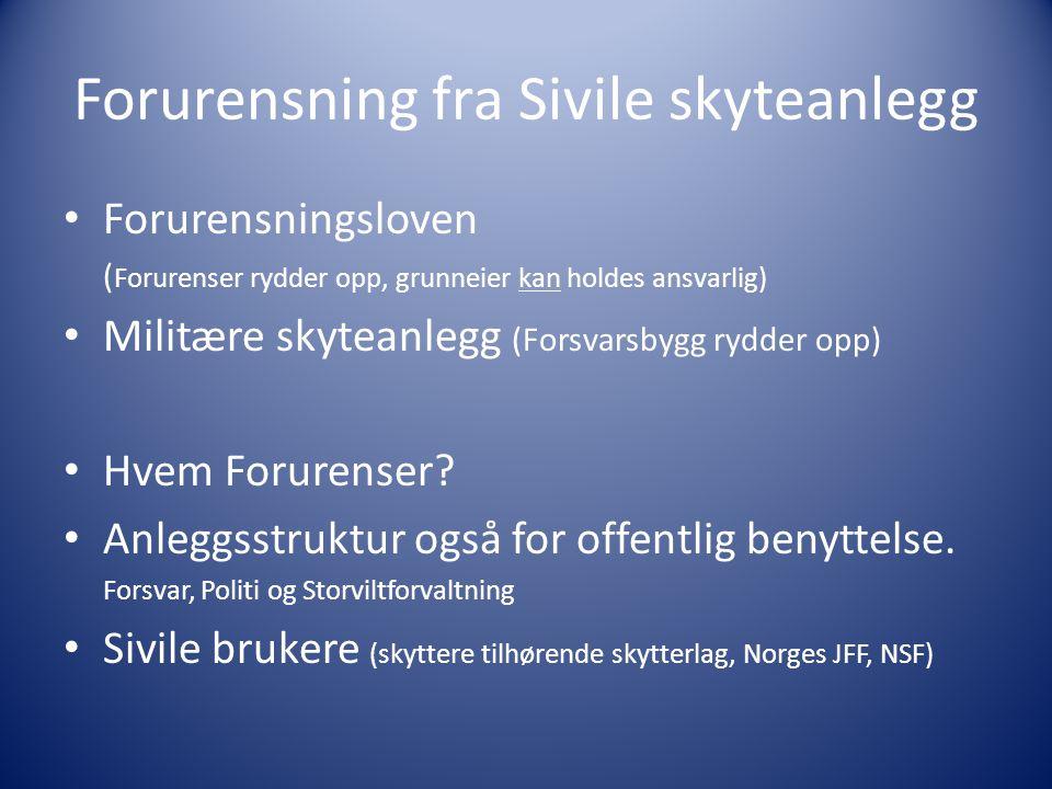 Forurensning fra Sivile skyteanlegg Forurensningsloven ( Forurenser rydder opp, grunneier kan holdes ansvarlig) Militære skyteanlegg (Forsvarsbygg rydder opp) Hvem Forurenser.