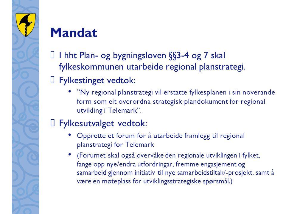 """Mandat  I hht Plan- og bygningsloven §§3-4 og 7 skal fylkeskommunen utarbeide regional planstrategi.  Fylkestinget vedtok: """"Ny regional planstrategi"""