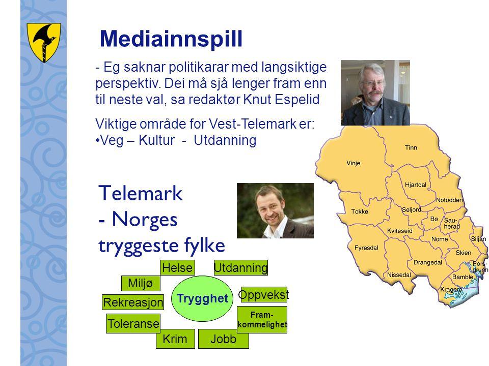 Telemark - Norges tryggeste fylke - Eg saknar politikarar med langsiktige perspektiv. Dei må sjå lenger fram enn til neste val, sa redaktør Knut Espel
