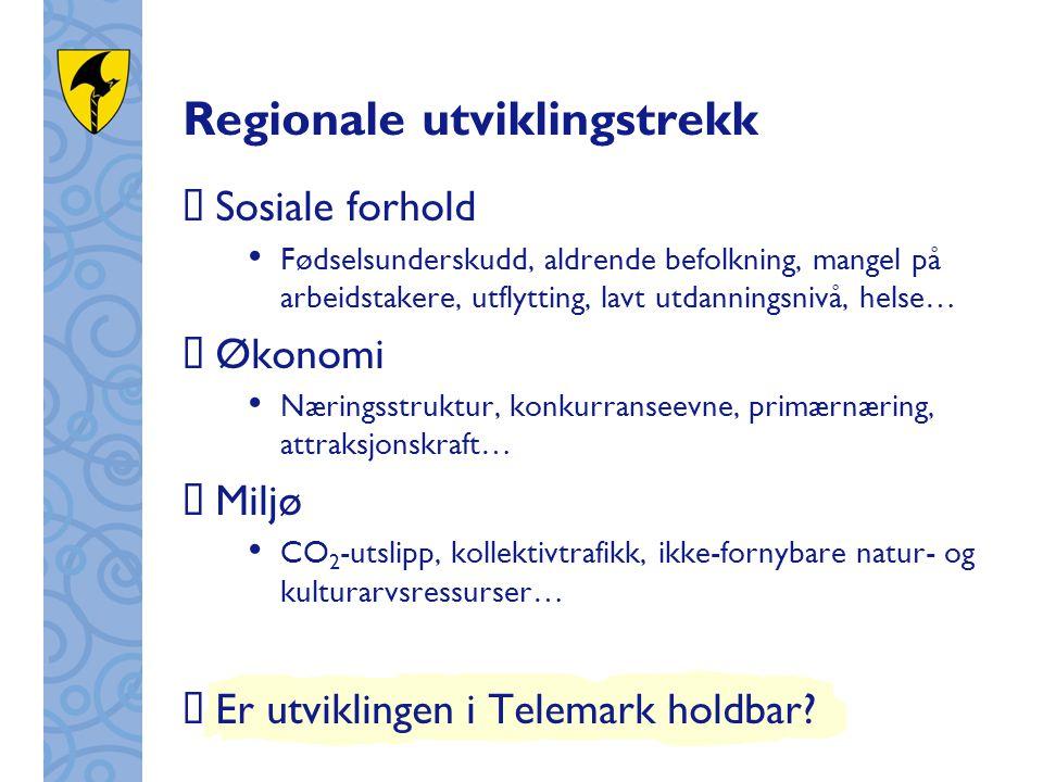 Regionale utviklingstrekk  Sosiale forhold Fødselsunderskudd, aldrende befolkning, mangel på arbeidstakere, utflytting, lavt utdanningsnivå, helse… 