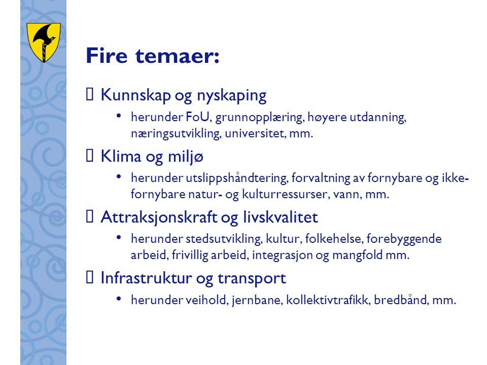 Fire temaer:  Kunnskap og nyskaping herunder FoU, grunnopplæring, høyere utdanning, næringsutvikling, universitet, mm.