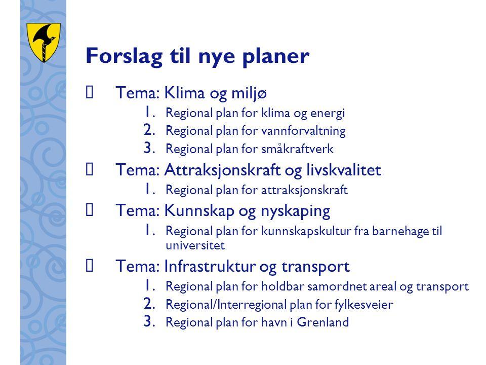 Forslag til nye planer  Tema: Klima og miljø 1. Regional plan for klima og energi 2. Regional plan for vannforvaltning 3. Regional plan for småkraftv