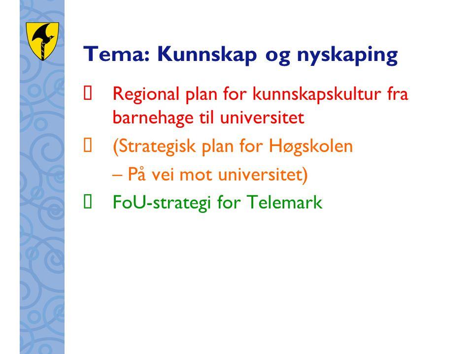 Tema: Kunnskap og nyskaping  Regional plan for kunnskapskultur fra barnehage til universitet  (Strategisk plan for Høgskolen – På vei mot universitet)  FoU-strategi for Telemark