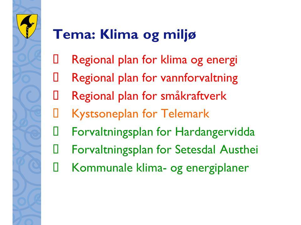 Tema: Klima og miljø  Regional plan for klima og energi  Regional plan for vannforvaltning  Regional plan for småkraftverk  Kystsoneplan for Telem