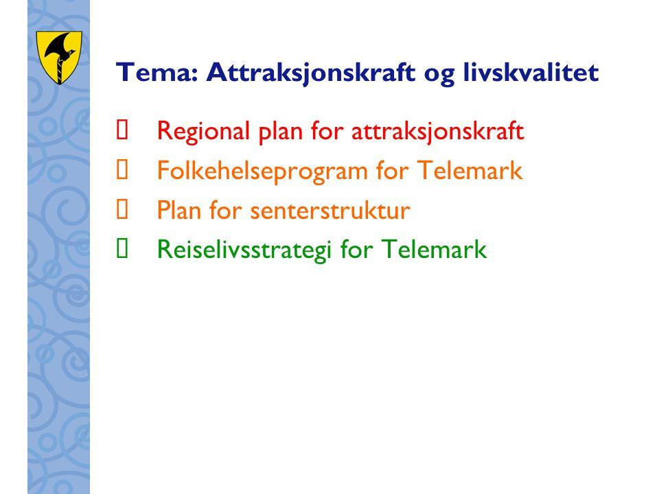 Tema: Attraksjonskraft og livskvalitet  Regional plan for attraksjonskraft  Folkehelseprogram for Telemark  Plan for senterstruktur  Reiselivsstra