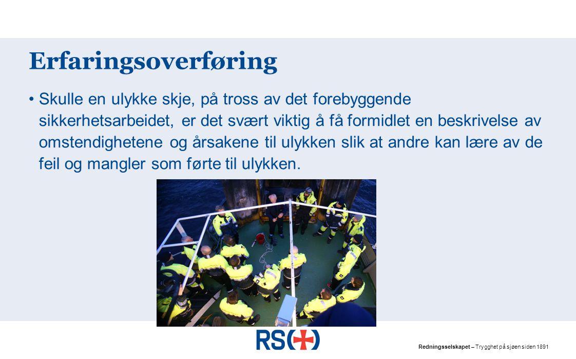 Redningsselskapet – Trygghet på sjøen siden 1891 Risikovurdering – fra Fartøyhåndboka
