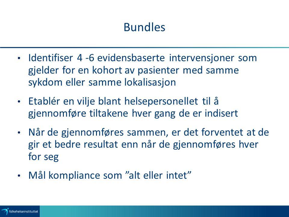 Bundles Identifiser 4 -6 evidensbaserte intervensjoner som gjelder for en kohort av pasienter med samme sykdom eller samme lokalisasjon Etablér en vil