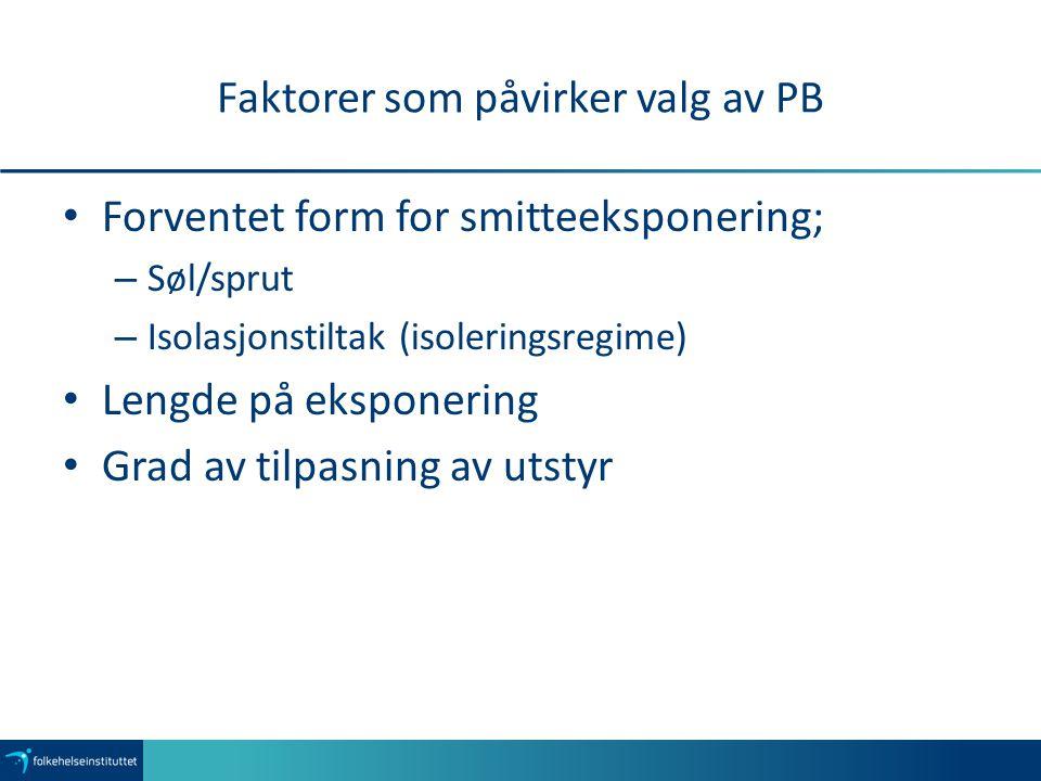 Faktorer som påvirker valg av PB Forventet form for smitteeksponering; – Søl/sprut – Isolasjonstiltak (isoleringsregime) Lengde på eksponering Grad av