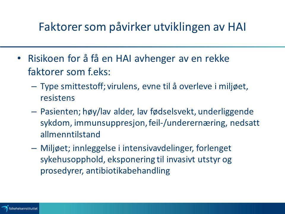 Faktorer som påvirker utviklingen av HAI Risikoen for å få en HAI avhenger av en rekke faktorer som f.eks: – Type smittestoff; virulens, evne til å ov