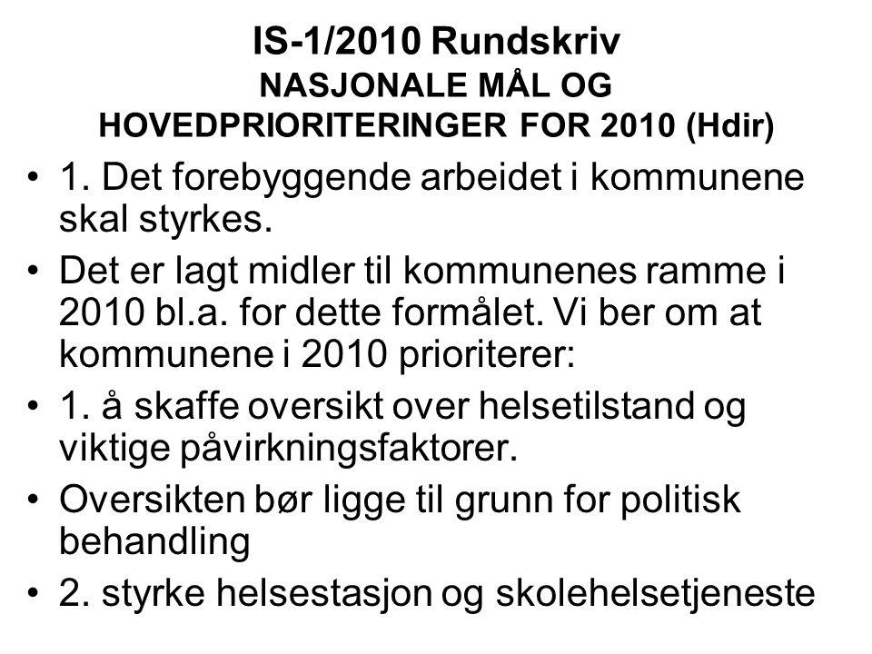 IS-1/2010 Rundskriv NASJONALE MÅL OG HOVEDPRIORITERINGER FOR 2010 (Hdir) 1.