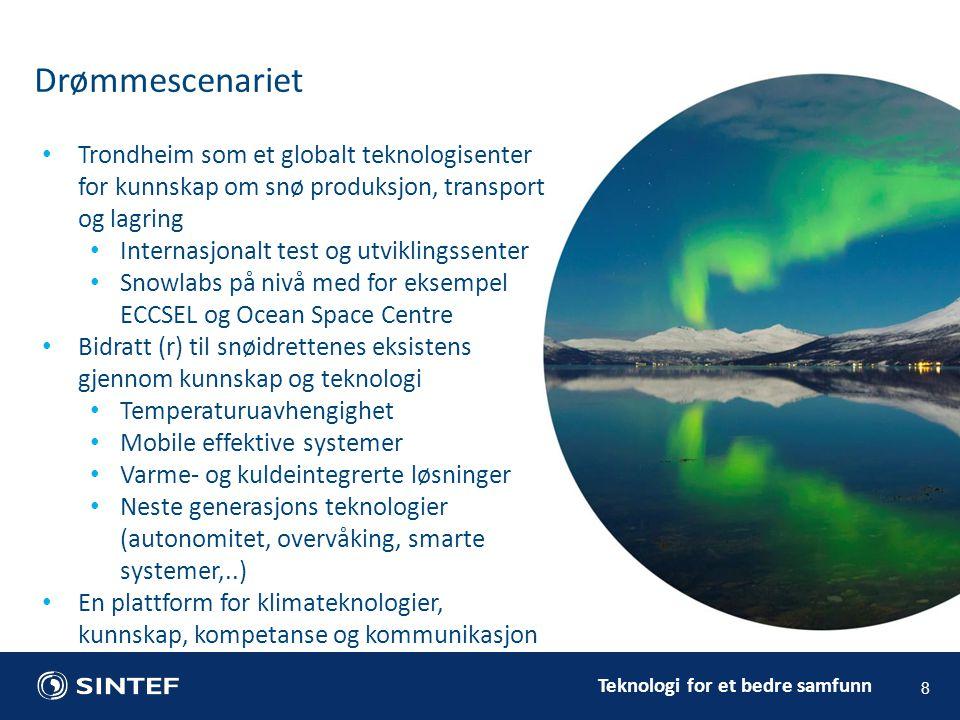 Teknologi for et bedre samfunn Drømmescenariet 8 Trondheim som et globalt teknologisenter for kunnskap om snø produksjon, transport og lagring Interna