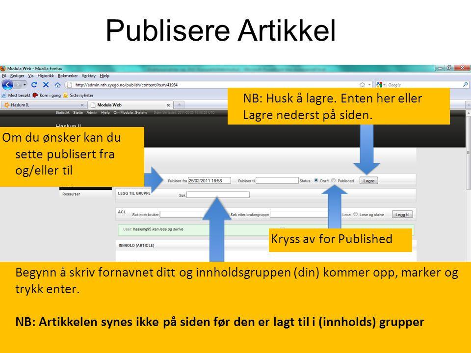 Publisere Artikkel.. Kryss av for Published NB: Husk å lagre.
