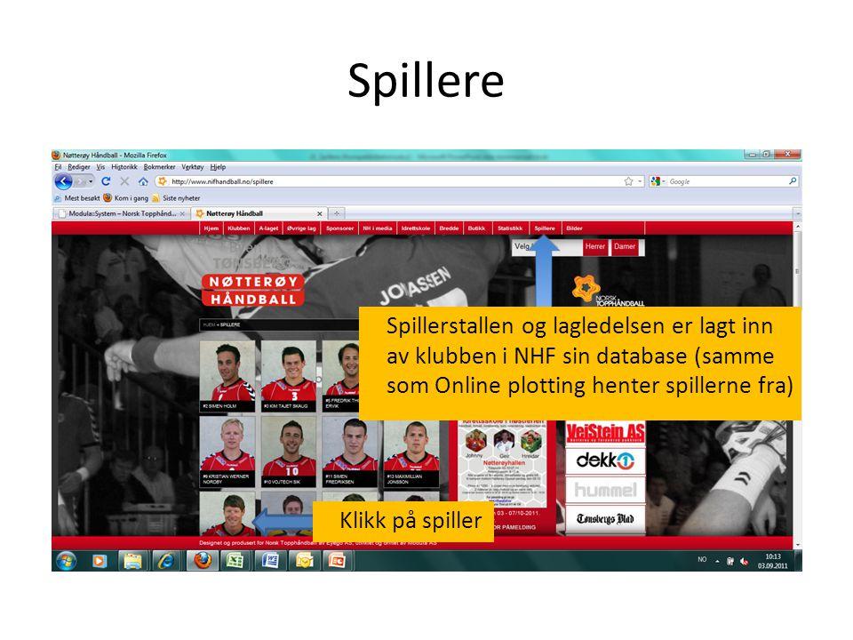 Spillere Spillerstallen og lagledelsen er lagt inn av klubben i NHF sin database (samme som Online plotting henter spillerne fra) Klikk på spiller