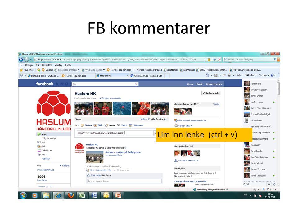 FB kommentarer Lim inn lenke (ctrl + v)
