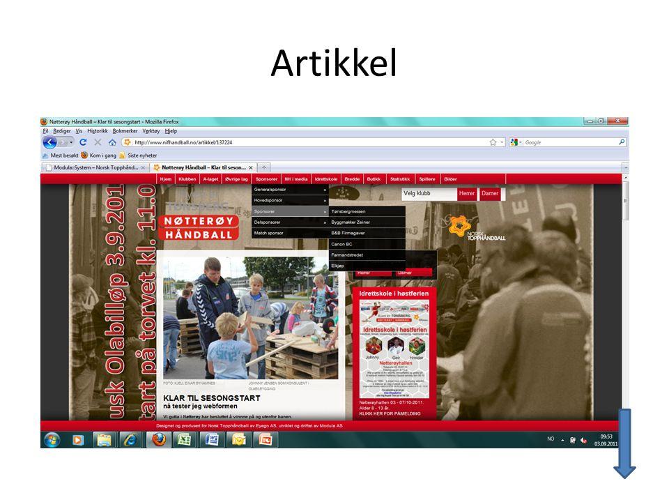 Skal du legge inn Artikkelbilde eller bilde i Tekstfeltet er dette boksen som kommer opp.