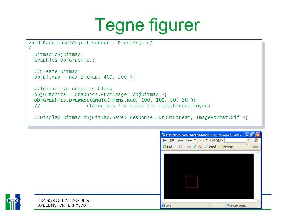 HØGSKOLEN I AGDER AVDELING FOR TEKNOLOGI Tegne figurer void Page_Load(Object sender, EventArgs e) { Bitmap objBitmap; Graphics objGraphics; //Create B