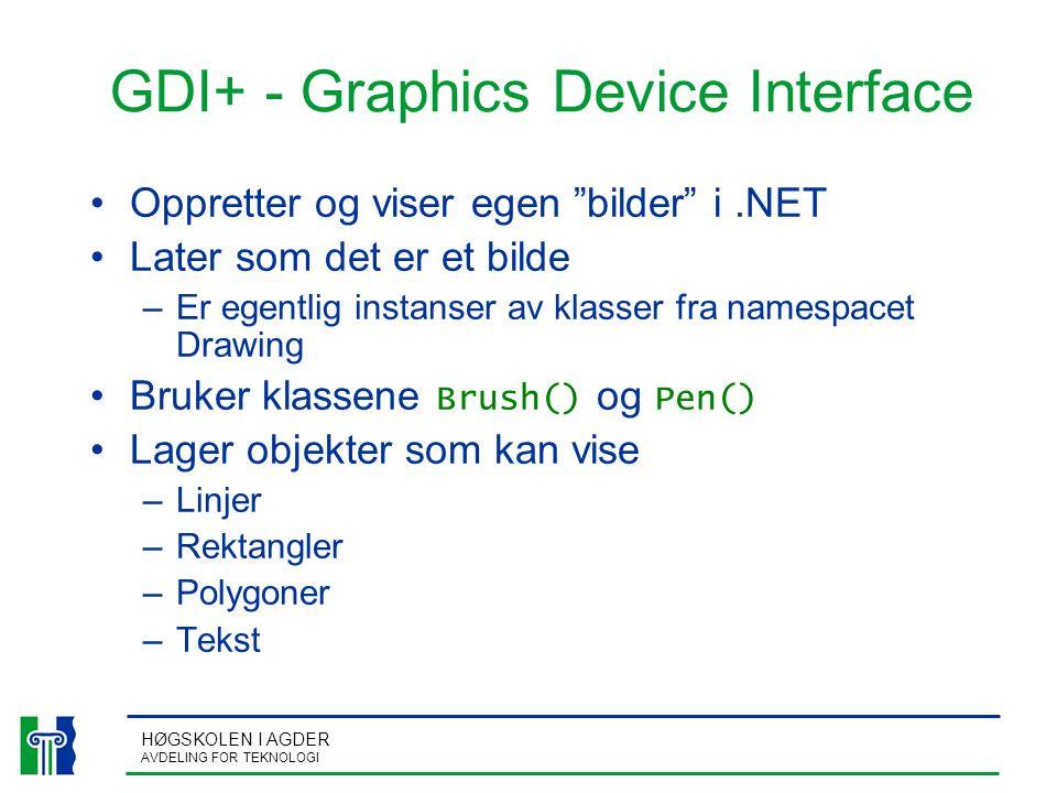HØGSKOLEN I AGDER AVDELING FOR TEKNOLOGI GDI+ - Graphics Device Interface Oppretter og viser egen bilder i.NET Later som det er et bilde –Er egentlig instanser av klasser fra namespacet Drawing Bruker klassene Brush() og Pen() Lager objekter som kan vise –Linjer –Rektangler –Polygoner –Tekst