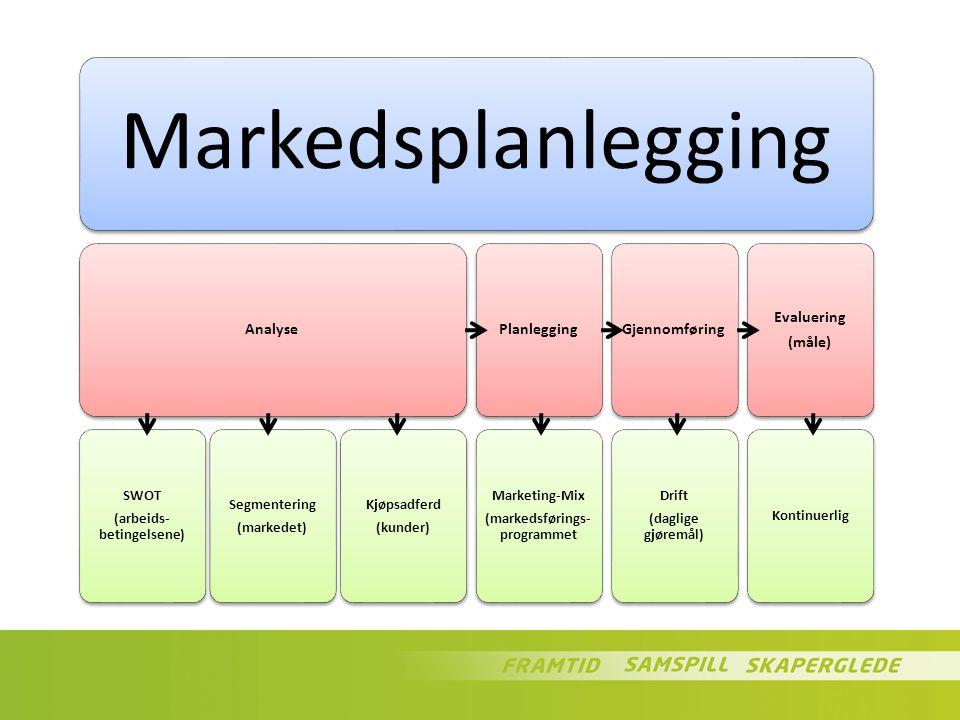 Markedsplanlegging Analyse SWOT (arbeids- betingelsene) Segmentering (markedet) Kjøpsadferd (kunder) Planlegging Marketing-Mix (markedsførings- progra