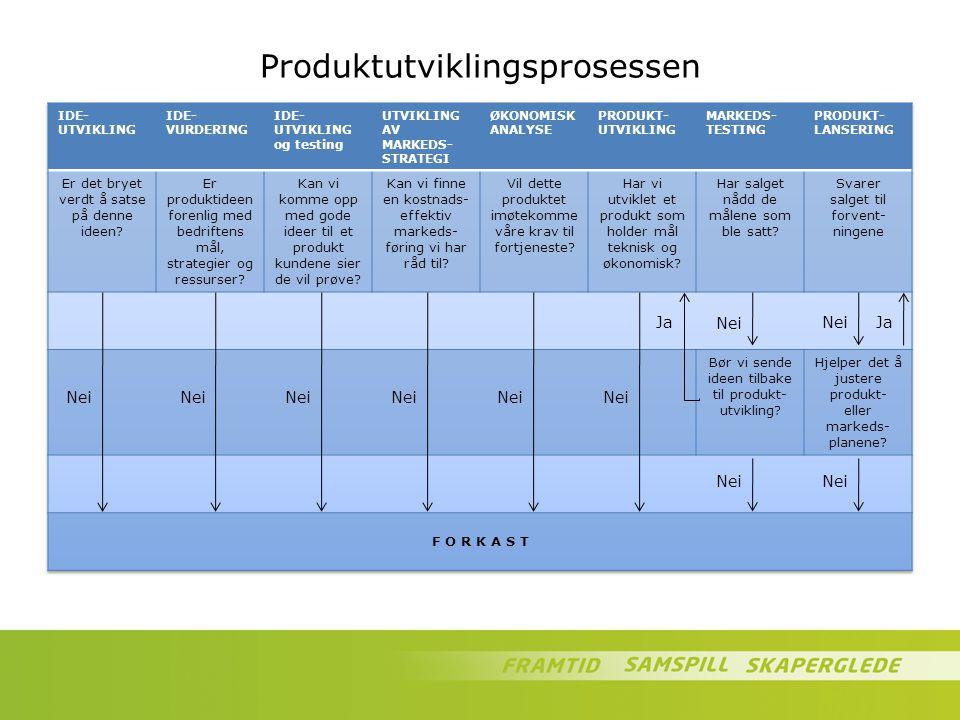 Produktutviklingsprosessen Nei Ja