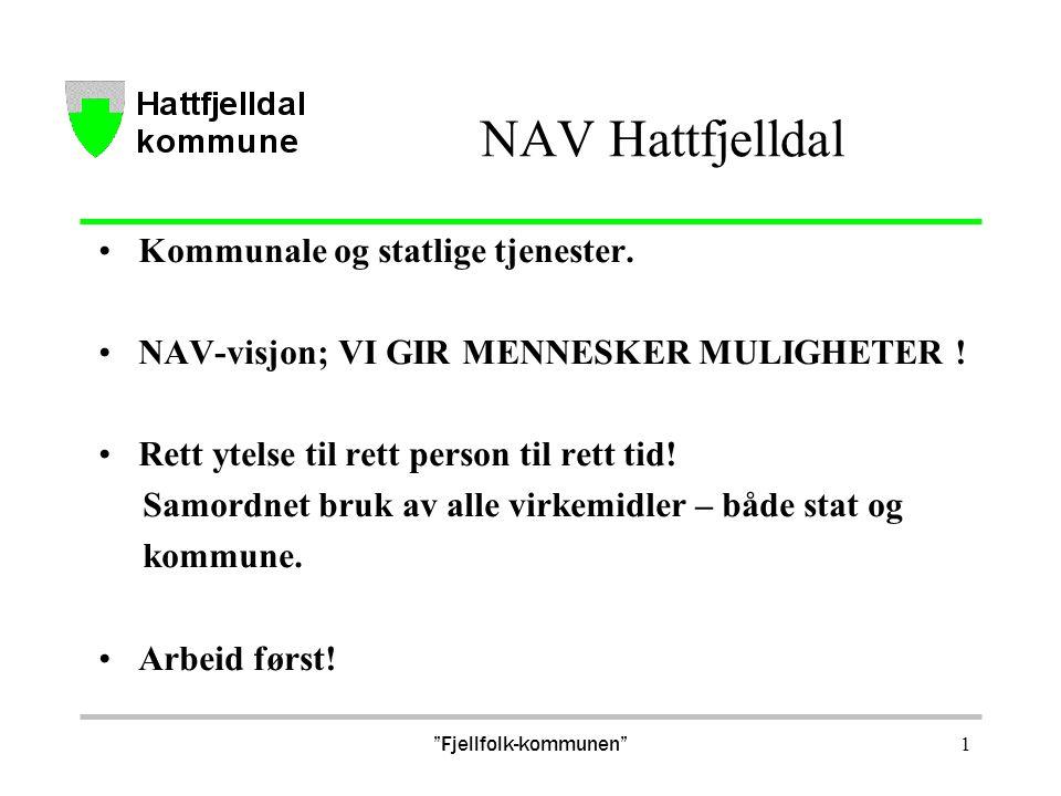 """""""Fjellfolk-kommunen"""" 1 NAV Hattfjelldal Kommunale og statlige tjenester. NAV-visjon; VI GIR MENNESKER MULIGHETER ! Rett ytelse til rett person til ret"""