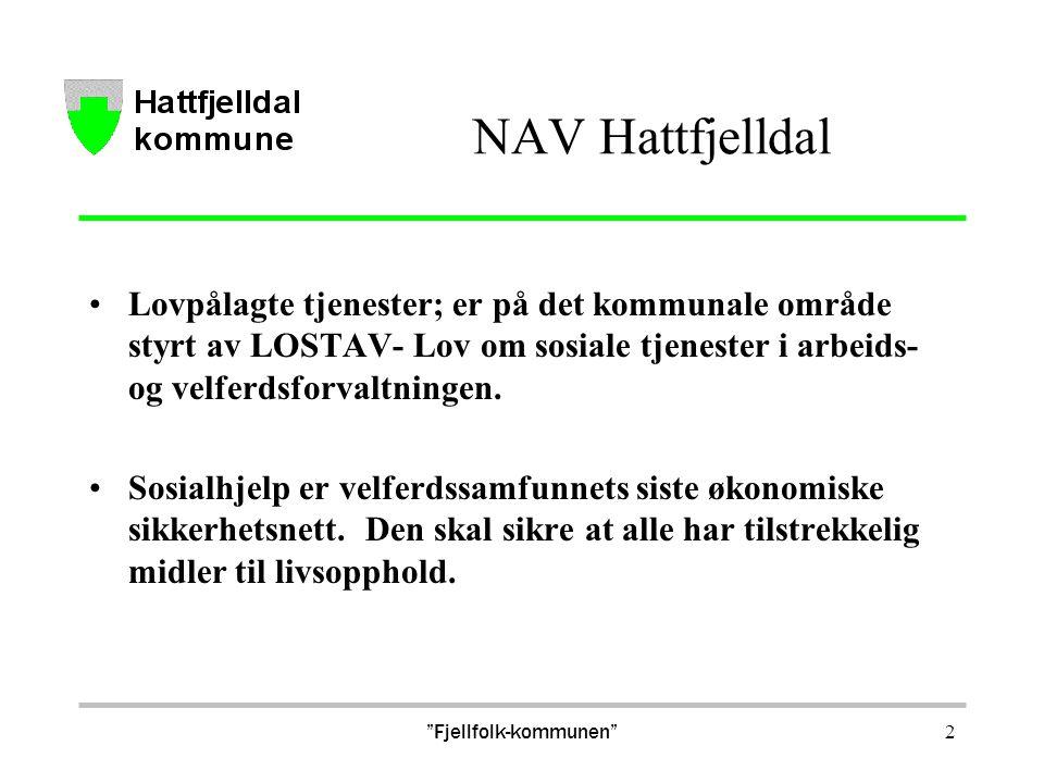 NAV Hattfjelldal Lovpålagte tjenester; er på det kommunale område styrt av LOSTAV- Lov om sosiale tjenester i arbeids- og velferdsforvaltningen. Sosia