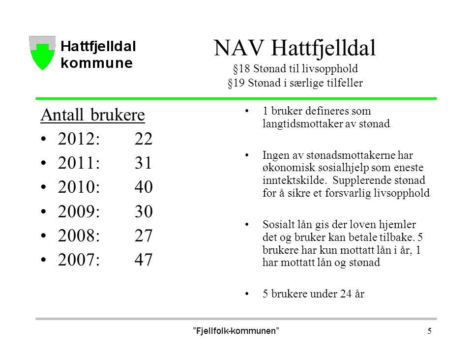 NAV Hattfjelldal §18 Stønad til livsopphold §19 Stønad i særlige tilfeller Antall brukere 2012:22 2011:31 2010:40 2009:30 2008:27 2007:47 1 bruker def