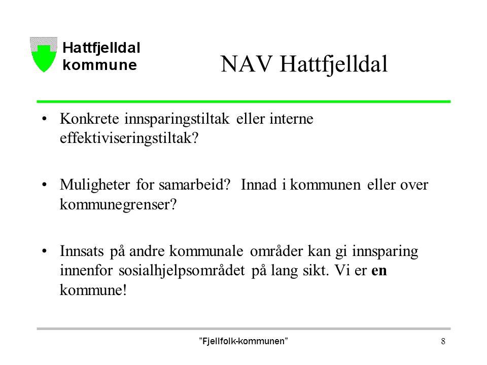 NAV Hattfjelldal Konkrete innsparingstiltak eller interne effektiviseringstiltak? Muligheter for samarbeid? Innad i kommunen eller over kommunegrenser