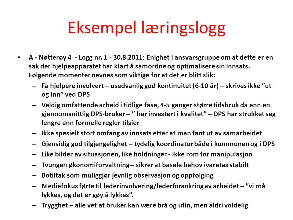 Eksempel læringslogg A - Nøtterøy 4 - Logg nr. 1 - 30.8.2011: Enighet i ansvarsgruppe om at dette er en sak der hjelpeapparatet har klart å samordne o