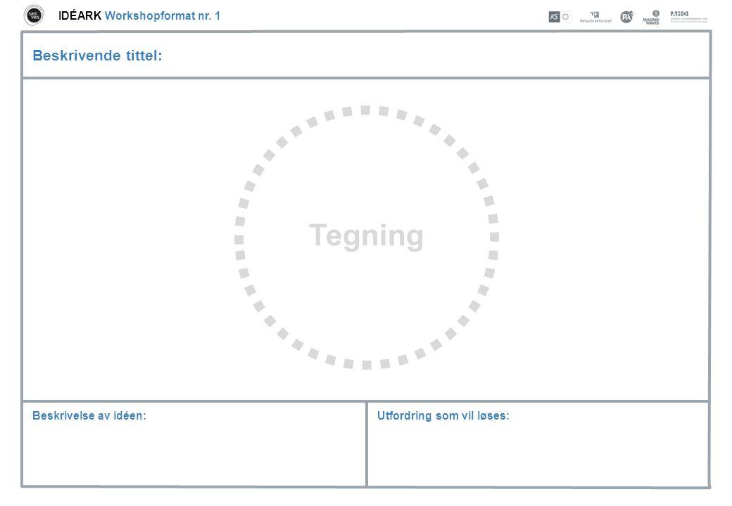 Utfordring som vil løses:Beskrivelse av idéen: Beskrivende tittel: Tegning IDÉARK Workshopformat nr. 1