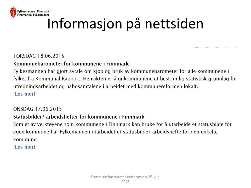 Informasjon på nettsiden Kommunebarometerkonferansen 25. juni 2015