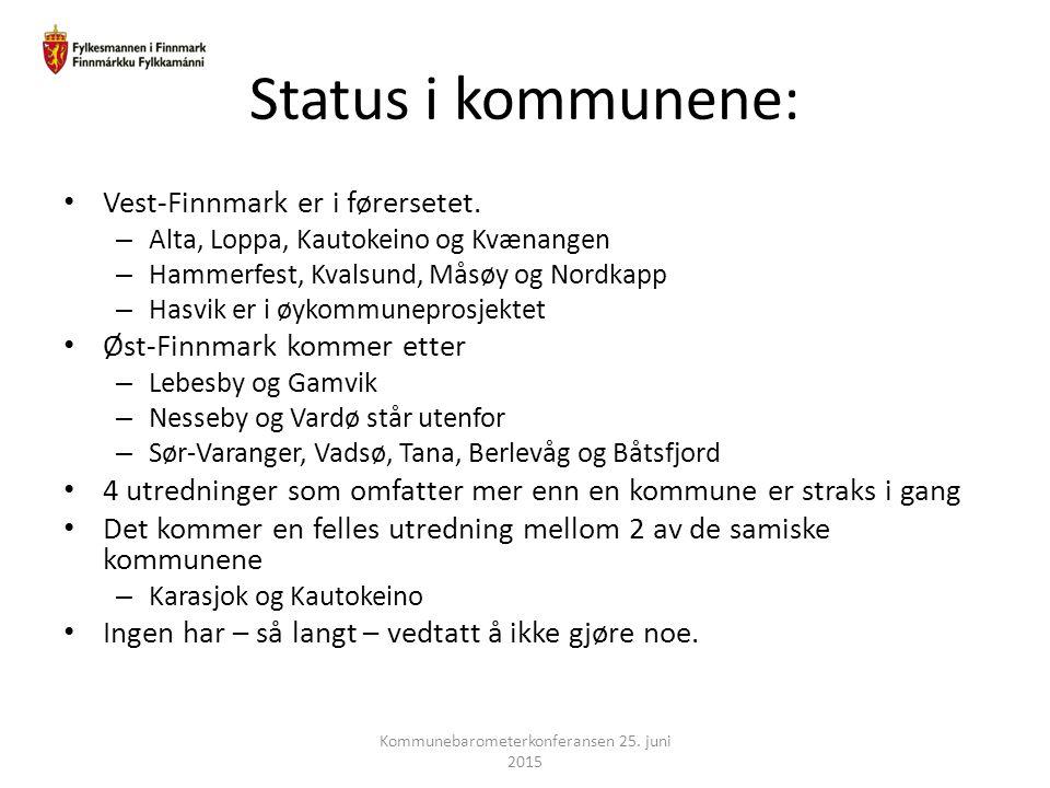 Status i kommunene: Vest-Finnmark er i førersetet. – Alta, Loppa, Kautokeino og Kvænangen – Hammerfest, Kvalsund, Måsøy og Nordkapp – Hasvik er i øyko