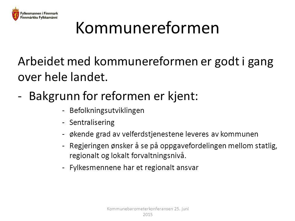 Kommunereformen Arbeidet med kommunereformen er godt i gang over hele landet. -Bakgrunn for reformen er kjent: -Befolkningsutviklingen -Sentralisering