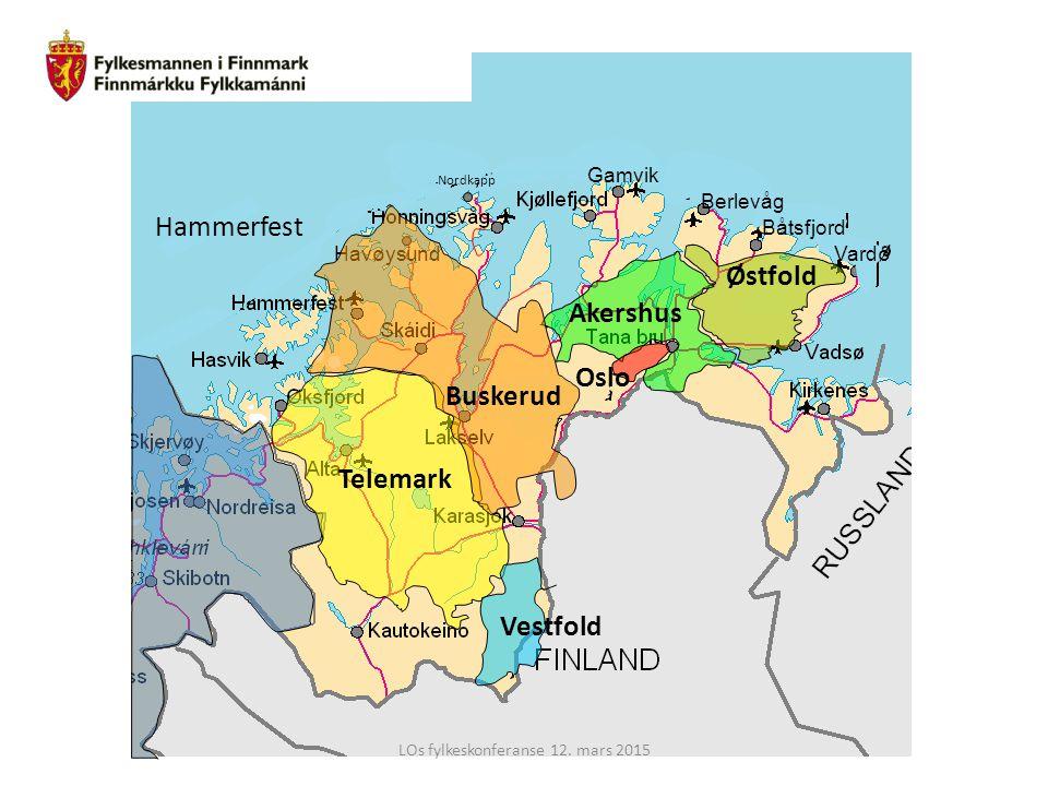 Havøysund Gamvik Berlevåg Båtsfjord Vardø Nordkapp Telemark Østfold Akershus Vestfold Buskerud Oslo Hammerfest LOs fylkeskonferanse 12. mars 2015