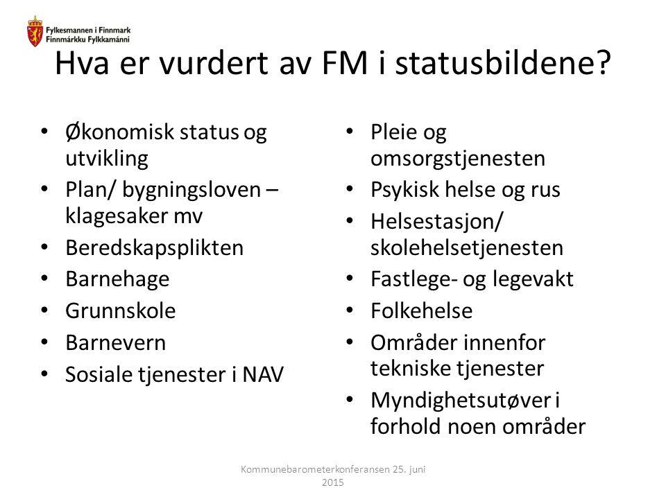 Hva er vurdert av FM i statusbildene? Økonomisk status og utvikling Plan/ bygningsloven – klagesaker mv Beredskapsplikten Barnehage Grunnskole Barneve