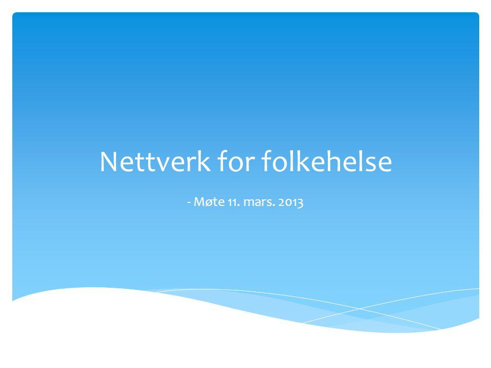 Nettverk for folkehelse - Møte 11. mars. 2013
