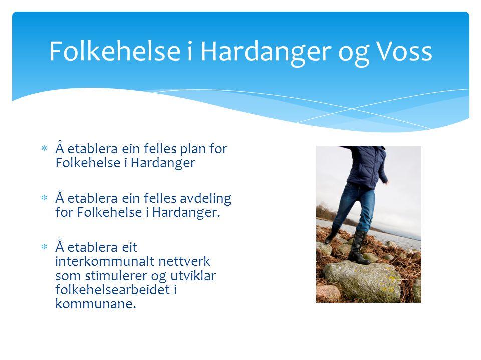 Folkehelse i Hardanger og Voss  Å etablera ein felles plan for Folkehelse i Hardanger  Å etablera ein felles avdeling for Folkehelse i Hardanger.